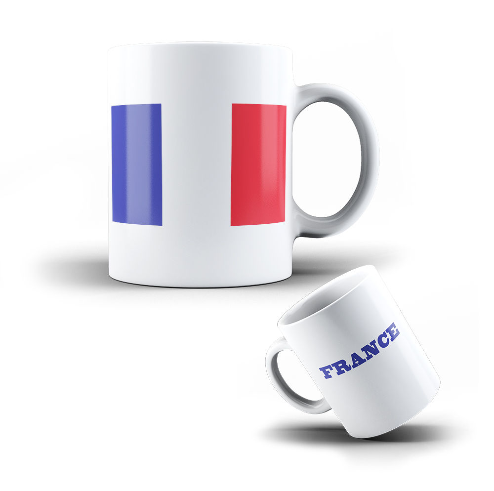 kaffee becher mug aus keramik frankreich flagge tasse mit fahne ebay. Black Bedroom Furniture Sets. Home Design Ideas