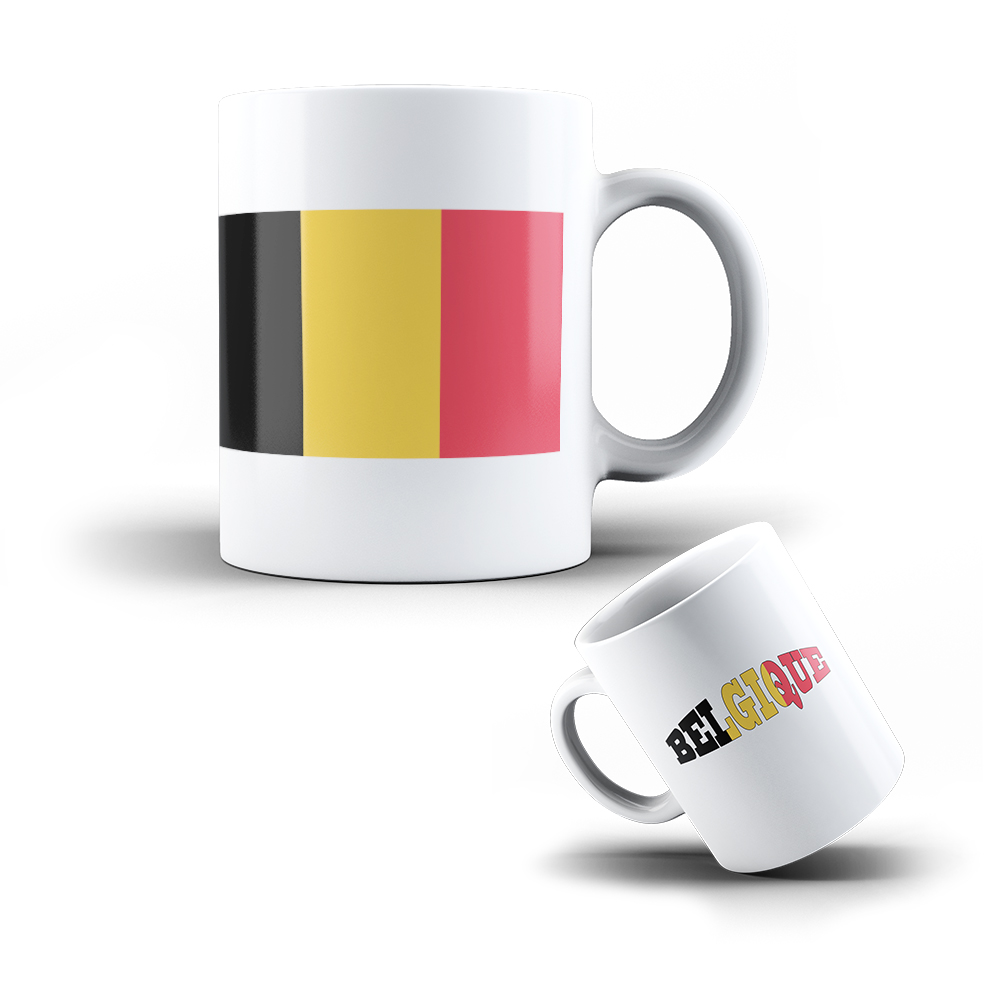 kaffee becher mug aus keramik belgien flagge tasse mit fahne ebay. Black Bedroom Furniture Sets. Home Design Ideas